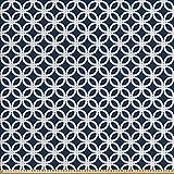 ABAKUHAUS Navy blau Stoff als Meterware, Geometrische