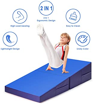 Giantex Incline Gymnastics Mat, Folding and Non-Folding Gymnastics Cheese Wedge Mat, Multiple Size Gym Fitness Skill ...