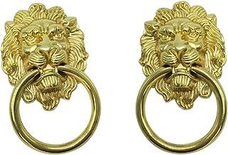 Homyl 2x Puxador de Cabeça de Leão Puxador Porta Cabine Gaveta Decoração de Móveis Dourado, L