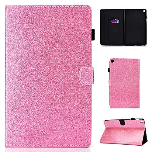 CaseFun Custodia per Samsung Galaxy Tab A 10.1 2019 SM-T510 / SM-T515 Custodia protettiva in pelle con glitter scintillante lucido, Rosa
