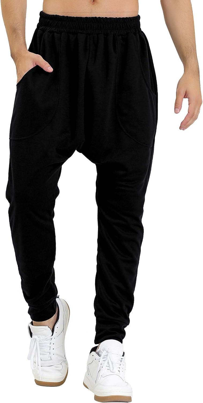 uxcell Men's Casual Harem Pants Drop Crotch Lightweight Pockets Knit Jogger Sweatpants