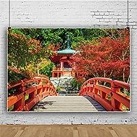 Qinunipoto 写真撮影用 背景布 商品 撮影 布 写真撮影 背景 日本 和風 赤橋 庭園 古亭 秋の風景背景 撮影用道具 生放送 写真撮影用背景布 飾り 背景紙 背景墙 布背景 装飾 小道具 ビニール 1.8m x 1.2m