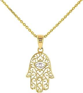 Solid 14K Gold Filigree Hamsa Hand of Fatima with Evil Eye Pendant Necklace