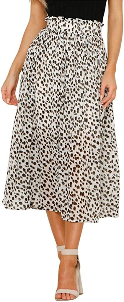 Fashion Women Skirts Empire Elastic Leopard Print Vintage Mid-Calf Casual Skirt