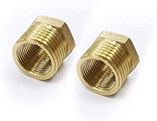 ORLEIMI Brass Pipe Fitting Reducer Adapter,1/2 Inch Male Pipe x 3/8 Inch Female Pipe 2 Pack (1 Pair)