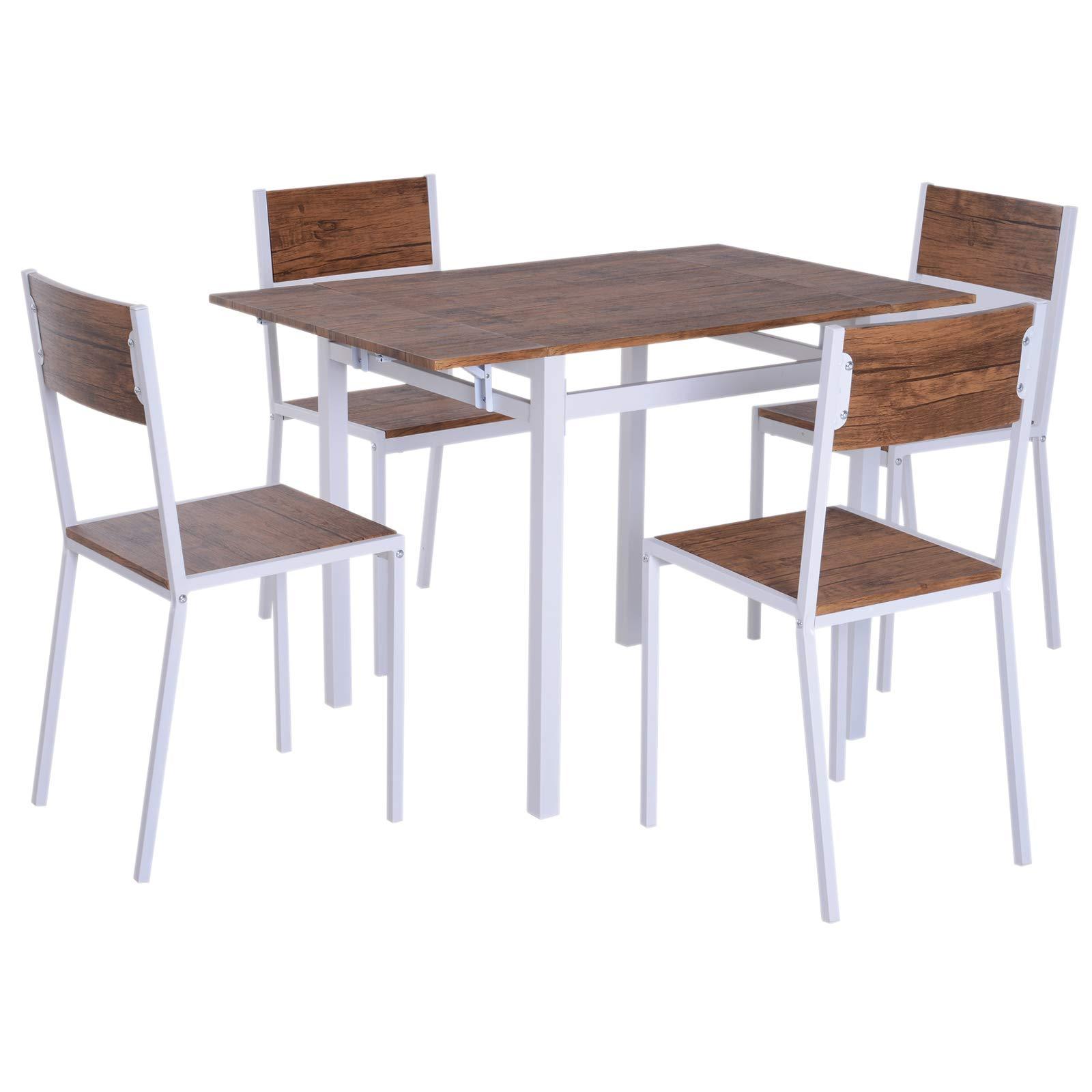 HOMCOM 5 Piezas Conjunto de Mesa Extensible y 4 Sillas de Comedor Juego Muebles de Cocina Sala Madera y Metal: Amazon.es: Juguetes y juegos