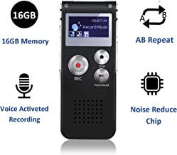 Digital Voice Recorder, 16GB Voice Activated Recorder with Playback, SHANGCAI Mini Audio Recorder for Lectures, Meetings, Interviews, Portable Tape Dictaphone with USB, MP3