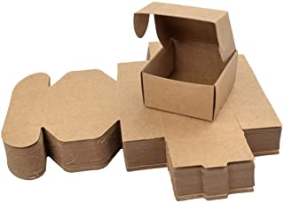 Enerhu 50 PCS Brown DIY Kraft Paper Boxes Mini Crafts Soap Cake Candy Chocolate Packaging Box Wedding Party Favor Gifts Wr...