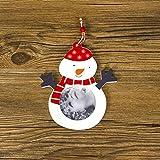 Yesiidor Weihnachten Muster hängenden Fotorahmen Schneeflocke Herz Weihnachtsmann Holz Fotorahmen Glocke Schneemann Muster Fenster Kamin hängende Dekoration, Schneemann