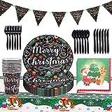 FANDE Vajilla de Fiesta de Navidad, Juego de Cubiertos Desechables Navidenos, Vajilla Festiva para Fiesta de Navidad Vajilla de Papel Decoracion Desechable - Platos y Servilletas