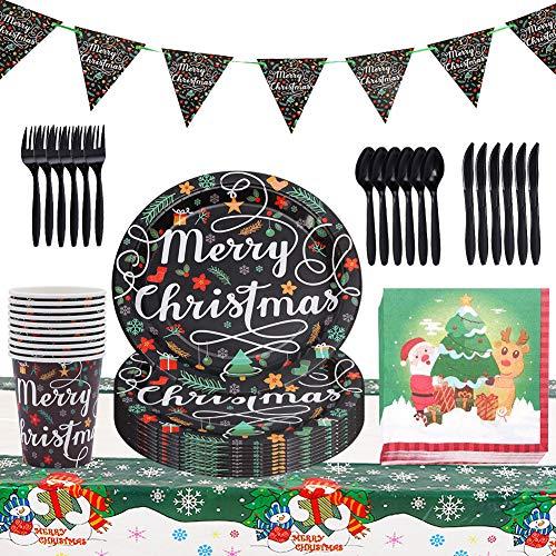 FANDE Vaisselle de fête de noël Ensemble Noël Vaisselle en Papier jetable Ensemble Assiette décorative Tasse Partie Fournitures/Motif de Noël, 72 Pièces pour 10 Personnes