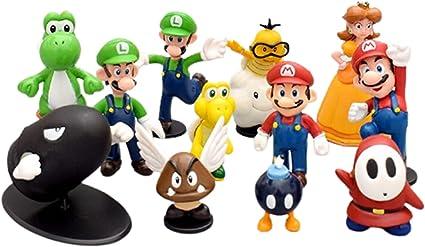Amazon.com: 18Pcs/Lot Super Mario Bros PVC Action Figures Toys Yoshi Peach Princess Luigi Shy. Toys Birthday Cake Decorations. (18 PCS)