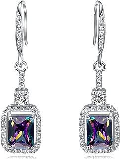Womens 925 Sterling Silver Created Mystic Rainbow Topaz Dangle Earrings