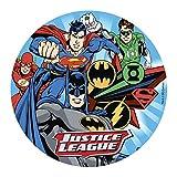 Dekora-160137 Decoracion Tartas de Cumpleaños Infantiles en Disco de Oblea de La Liga de la Justicia-20 cm Diámetro Justice League