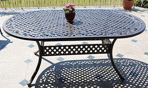 Hanseatisches Im- & Export Contor GmbH Table de Jardin, Fonte d\'aluminium,  Ovale, 182 x 106 cm, Hauteur 72 cm