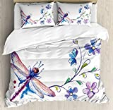 Ambesonne Dragonfly Duvet Cover Set, Watercolor Bug Butterfly Like Moth with Branch Ivy Flowers Lilies Art, Decorative 3 Piece Bedding Set with 2 Pillow Shams, Queen Size, Purple Green