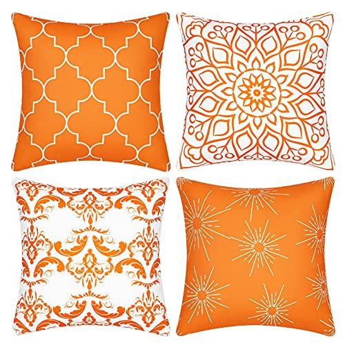 Dekokissenbezüge, dekorativ, modernes Muster, quadratisch, für Zimmer, Schlafzimmer, Sofa, Stuhl, Auto, Orange, 45,7 x 45,7 cm