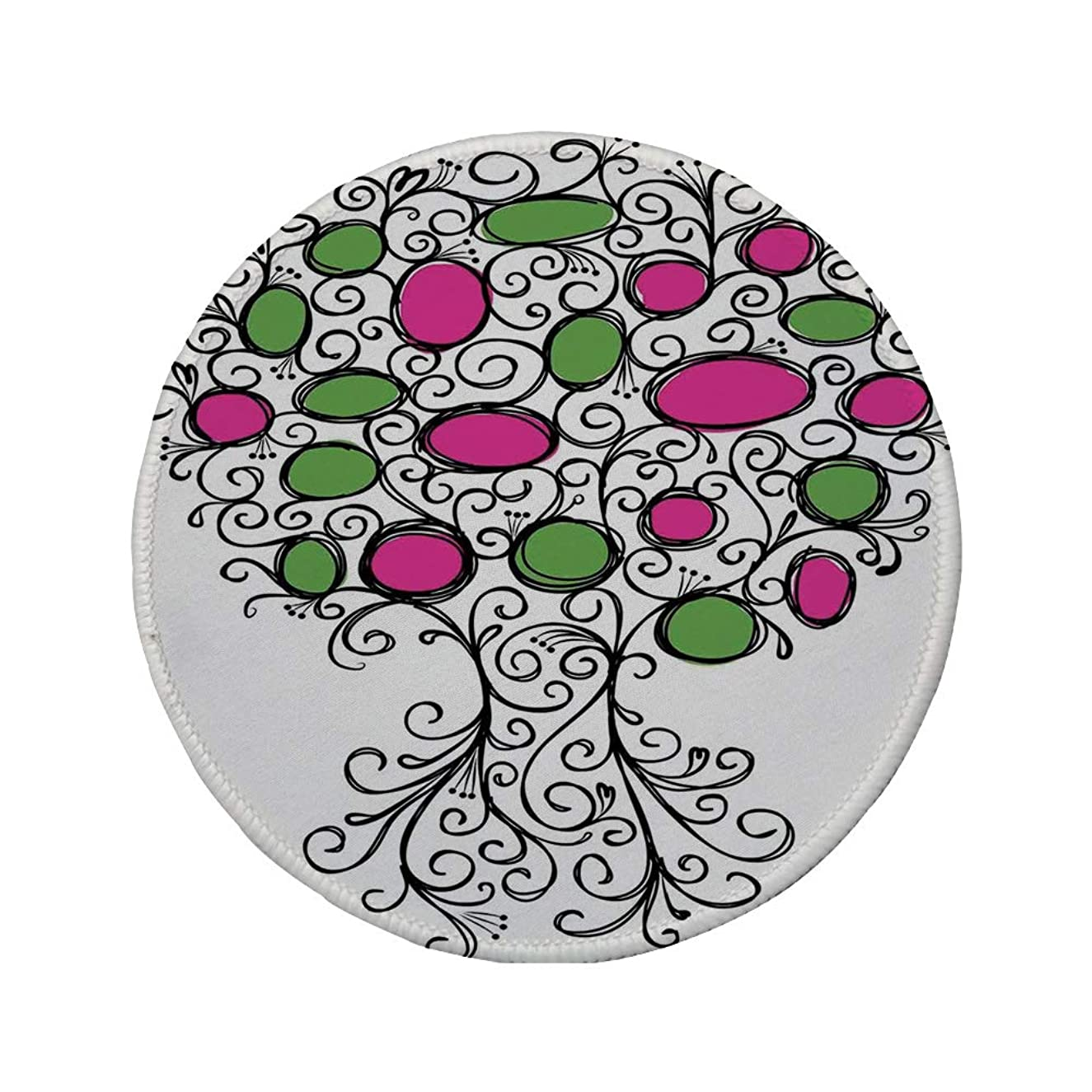 Non-Slip Rubber Round Mouse Pad,Tree of Life,OrnateTree with Curving Roots and Branches Colored Fruits Growing Living Home,Pink Green Black,11.8