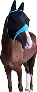 TGW RIDING Horse Fly Mask with Ears Fine Mesh (Warmblood, Navy/Turquoise)