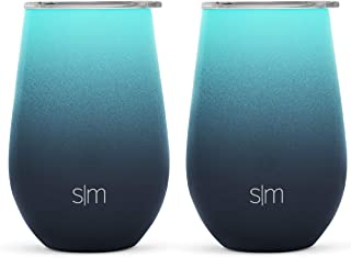 Simple Modern 12oz Spirit Wine Glasses 2 Pack Bundle - Stainless Steel Tumbler with Lids - Vacuum Insulated 18/8 Stainless Steel - Ombre: Bermuda Deep