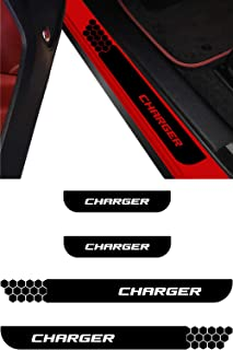 Dodge Charger Door Sill Guard Decal | Door Entry Protector Vinyl Sticker | No Background Scuff Plate Protection Cover fits 2006 2007 2008 2009 2010 2011 2012 2013 2014 2015 2016 2017 2018 2019 (black)