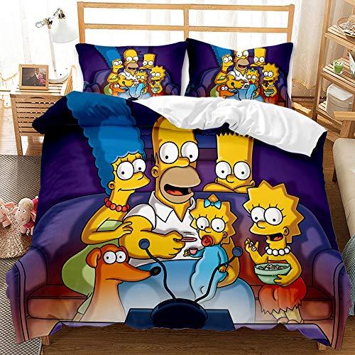 QIAOJIN The Simpsons, set di biancheria da letto in microfibra da 2/3 pezzi, con stampa animata, con cerniera, regalo per ragazzi e ragazze (200 x 200)