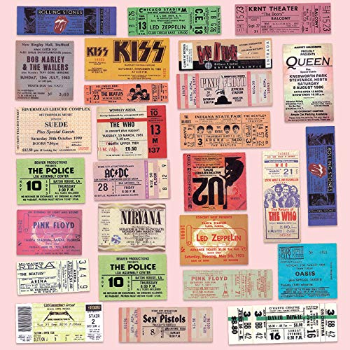 WWJIE Vintage Beatles Gun Flower Rock Band Ticket Sticker Luggage Laptop Phone Stickers