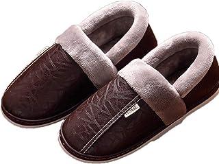 Drxiu Chaussons pour Hommes Pantoufles d'hiver antidérapant Chaussures d'intérieur pour Hommes Femmes en Cuir Maison Chaus...