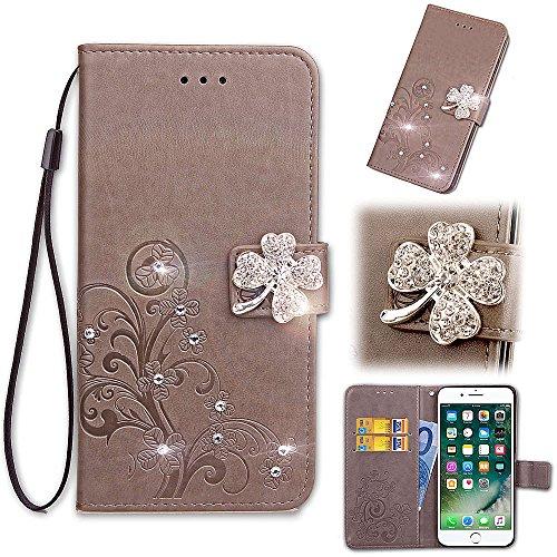 Artfeel Brieftasche Hülle Grau für Samsung Galaxy S9, Flip Leder Handyhülle Geprägt Blume Luxus Diamant Magnetverschluss Abdeckung mit Handschlaufe/Kartenfächer/Stand