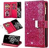 QC-EMART - Funda tipo cartera para Huawei Mate 10 Pro, gran capacidad, tarjetero, bolsillo con cremallera, piel sintética con purpurina, bloqueo magnético, para mujer Mate 10 Pro, color rojo rosa