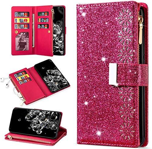 QC-EMART para POCO F3 5G Teléfono Cartera Funda de gran capacidad Tarjetero Cremallera Bolsillo Flip Cover Glitter PU Cuero Bloqueo Magnético Señoras Embrague para Xiaomi POCO F3 5G Rosa Rojo