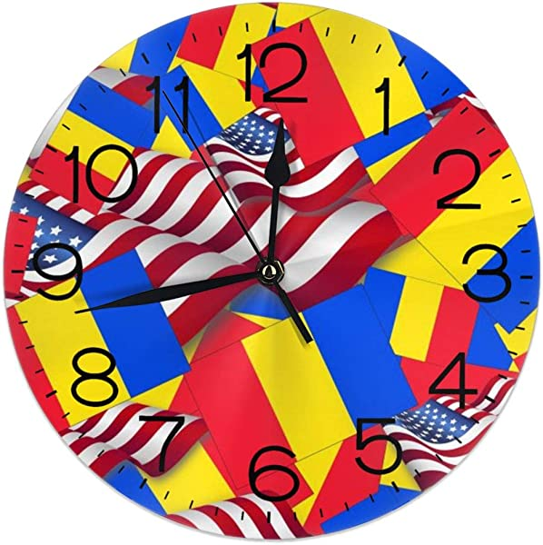 Romania Flag With America Flag Silent Wall Clock 10 Inch Non Ticking Wall Clock Battery Operated For Bedroom Living Room Kitchen Office Classroom Modern Retro Style