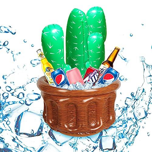 Sunshine smile Enfriador de Palmera Inflable,Enfriador de Fiesta para Verano,Soporte para Bebidas de Piscina de Verano,Piscina temática,Cubo de Fiesta de Hielo (Cactus)