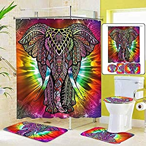 zhj888 Colourful Elephant Shower Curtain Sets with Non-Slip Rugs, Toilet Lid Cover and Bath Mat, Bohemia Shower Curtains with 12 Hooks, Durable Waterproof Bath Curtain
