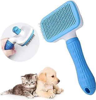 ZoneYan Husdjursborste självrengöring, hundborste långt hår, kattkam kort hår, plockborste för hundar, katter borstkam, pä...