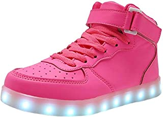 WONZOM FASHION High Top LED Light Up Shoes USB Charging Sneakers for Men Women