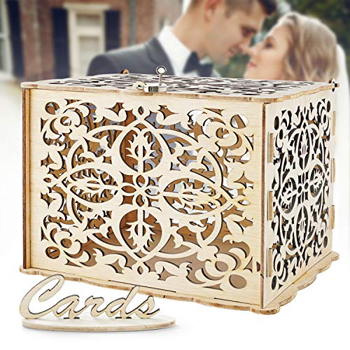 LUTANI Wedding Money Box with Lock for Cards – DIY Wedding Card Box – Wedding Gift Boxes for Baby Showers, Anniversary, Party, Decorations (Large)
