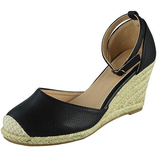 047a998a8c2d Loud Look Womens Ladies Ankle Strap Espadrilles Platform Shoes Mid Heel Wedge  Sandals Size 3-