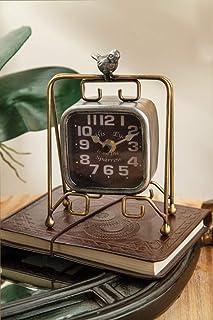 S.W.H Vintage Metall Eisen Tischuhr Kamin Tischuhr Dekoration Tischuhren Braun