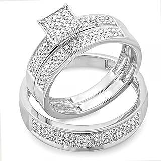 Dazzlingrock Collection 0.55 Carat (ctw) Round White Diamond Men's & Women's Micro Pave Engagement Ring Trio Bridal Set