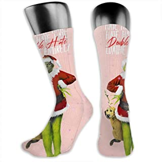 Mens Athletic Work Socks, Suitable for All Seasons, Double Hate Loathe Entirely The Grinch