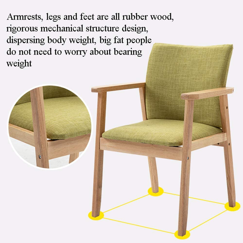 Chaise De Salle À Manger en Bois Massif avec Coussinet en Éponge Souple Et Accoudoir,Nordic Minimalist Home Lounge Chair pour Le Salon Brown+khaki