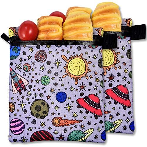 Bolsa para bocadillos ecológica, reutilizable, impermeable, duradera, para bocadillos, para almacenamiento de alimentos para bocadillos, frutas, verduras y pan (2 piezas)