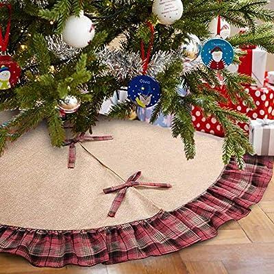 48 Inches Plaid Christmas Tree Skirt with Tartan Edging By Aytai
