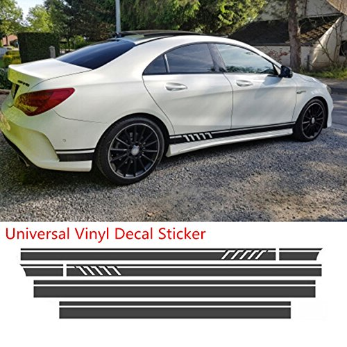 MountainValleyClimber Universal Black Car Racing Body Side Stripe Skirt Roof Hood Decal Sticker for All Cars Vinyl Bumper Decal(4Pcs)