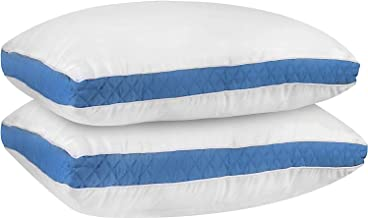Cloth Fusion Luxurious Quilted Microfibre Bed Pillow,(18X27-inches, Sky Blue) - Set of 2