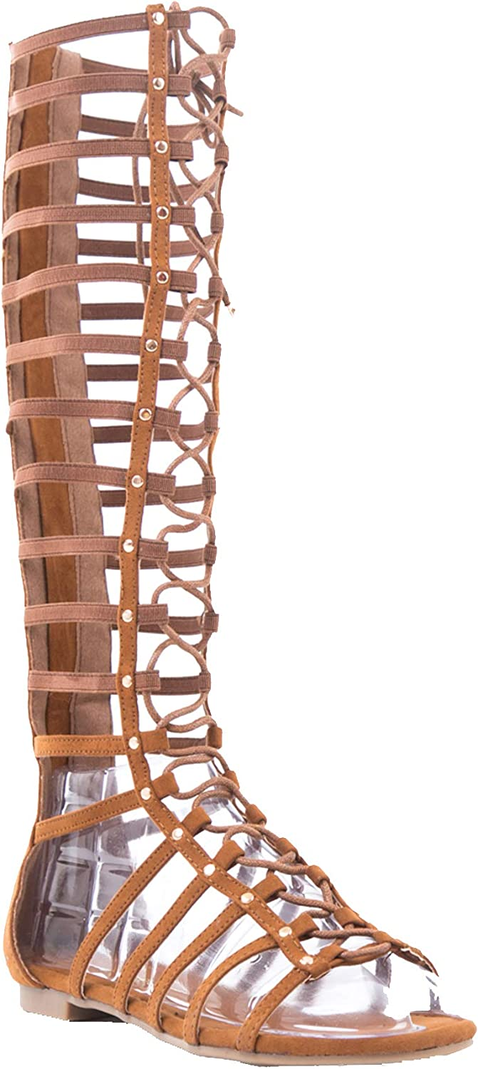DBDK Carling 3 Womens Knee High Flat Caged Gladiator Sandals