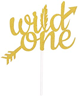 Topfunyy Double Sided Gold Glitter Wild One Cake Topper for Baby Shower Kids First Birthday Party Decorations