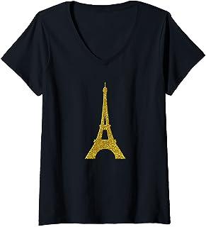 Femme Paris Tour Eiffel, symbole d'or Vintage T-Shirt avec Col en V