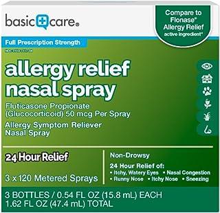 Amazon Basic Care Allergy Relief Nasal Spray, Fluticasone Propionate (Glucocorticoid), 50 mcg Per Spray, 1.62 Fl Oz